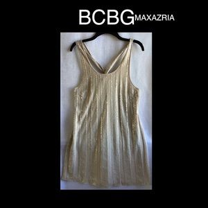😍BCBGMAXAZRIA Champagne Sequence Large Dress😍